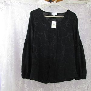 Calvin Klein Womens Black Popover Blouse Holiday M